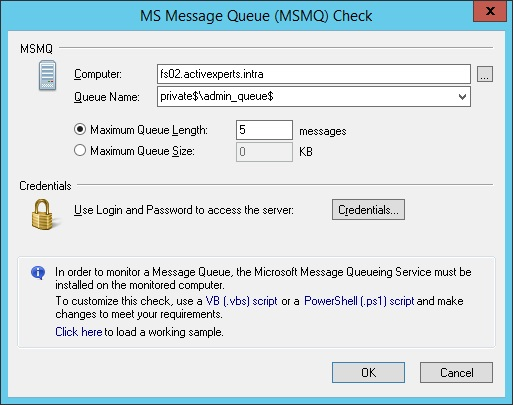 Monitor Microsoft Message Queue